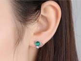 925純銀耳釘女日韓可愛甜美氣質貓咪耳環貓眼石耳環文藝耳飾品