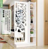 屏風隔斷客廳玄關櫃現代時尚移動門廳裝飾櫃?空雕花櫥窗背景XW