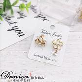 耳環 現貨 韓國 氣質 甜美 不對稱 3D 花朵 水鑽耳環 S91883 批發價 Danica 韓系飾品 韓國連線