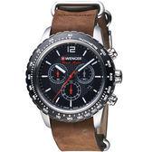 瑞士WENGER Roadster速度系列黑夜騎士三眼指針腕錶 01.0853.106