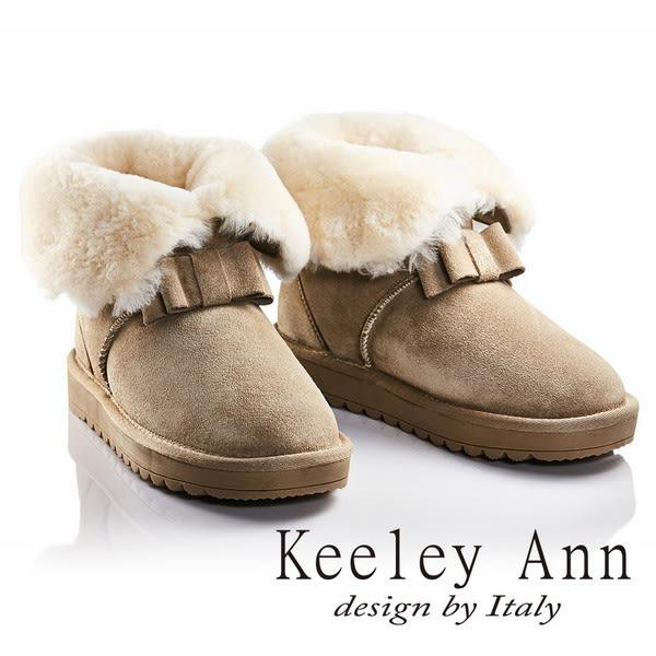 ★零碼出清★Keeley Ann異國戀冬~反折暖毛蝴蝶結造型真皮平底雪靴(米色)
