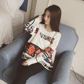 針織衫秋裝韓國新款字母彩圖圓領長袖寬鬆 糖糖日系森女屋