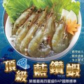 頂級藍鑽蝦【榮獲最高四星級BAP國際標準】1kg±10%/盒(40pcs~50pcs) 安全認證 無腥味 蝦