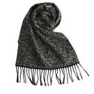 GINZA U新款時尚豹紋風織紋100%羊毛圍巾(淺灰色) 359999-50