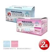 【南紡購物中心】【GRANDE格安德】醫用成人平面口罩(50片/盒),共2盒,藍+粉