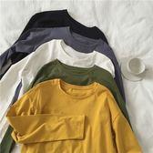 復古全棉純色長袖T恤女