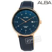 ALBA / VJ42-X271B.AS9H48X1 / 極致簡約 藍寶石水晶玻璃 日期 日本機芯 真皮手錶 深藍x玫瑰金框 44mm
