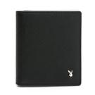 PLAYBOY- 短夾附零錢袋 Saffiano系列-黑色