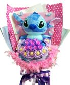 娃娃屋樂園~35公分史迪奇大娃娃(羽毛款)花束-10朵香皂花.10顆金莎 每束2300元/花束商品/金莎花束