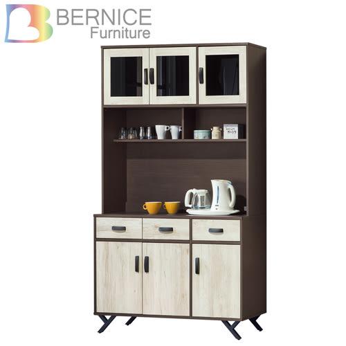 Bernice-班奈特4尺工業風收納餐櫃/電器櫃/碗盤櫃組合(上座+下座)