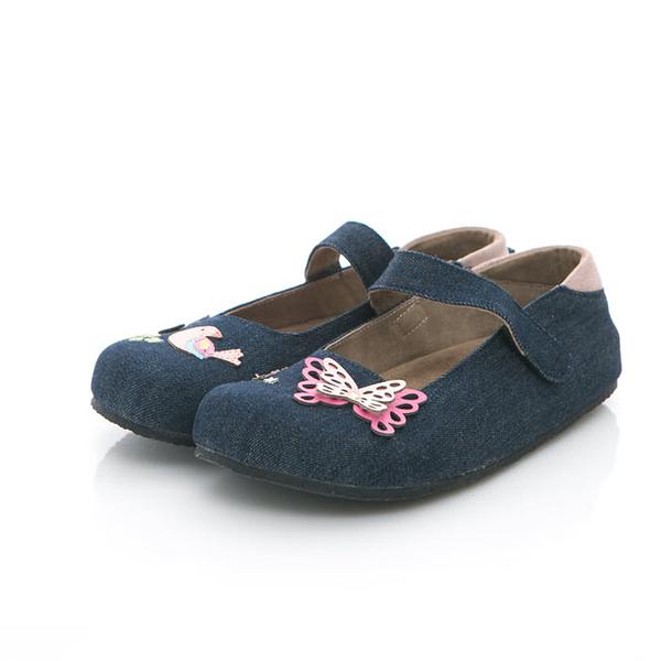 【Jingle】夢幻蝴蝶花園全包款軟木鞋(牛仔藍大人款)