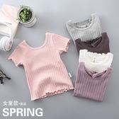 女童短袖t恤兒童純棉半袖夏季體恤汗衫女孩上衣圓領寶寶打底衫女 東京衣櫃