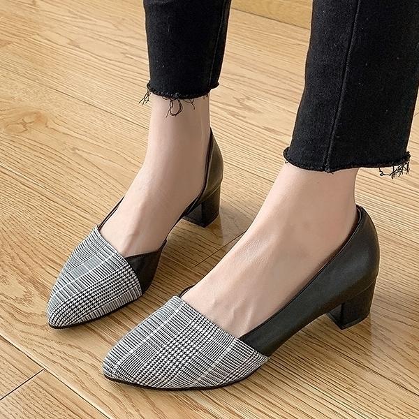低跟鞋.MIT韓風格紋拼接側簍空粗跟尖頭包鞋.白鳥麗子