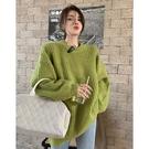 綠色毛衣女秋冬外穿慵懶風套頭針織衫復古日系中長款寬松外套上衣 錢夫人小鋪