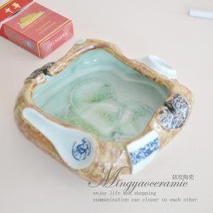 陶瓷全手工捏造古青花煙灰缸