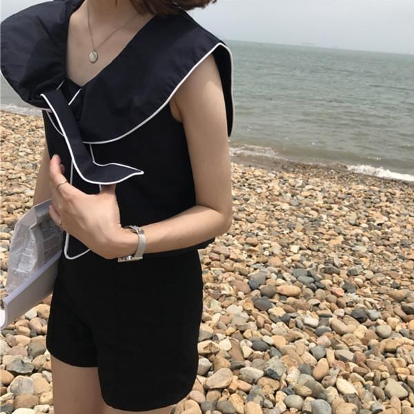 [超豐國際]夏季女裝百搭兩面穿綁帶上衣寬松顯瘦純色海軍領無袖1入