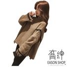 EASON SHOP(GU4788)韓版坑條紋海馬毛料加厚OVERSIZE高領毛衣長袖上衣針織斗篷式拼接女上衣服棕色