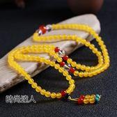 水晶石黃玉石財運手鍊108顆佛珠瑪瑙石飾品禮物招財項鍊熱賣夯款