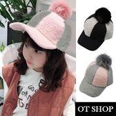 OT SHOP 兒童帽子 兒童毛帽 毛線針織 可愛羊毛帽球 兒童服飾配件 現貨2色 C5006