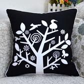 時尚簡約枝頭鳥印花沙發靠枕 抱枕 腰枕 靠背墊