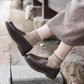 日系秋冬加絨英倫風小皮鞋中跟樂福鞋女【愛物及屋】