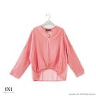 【INI】注目自在、反折袖連袖條紋上衣.紅色