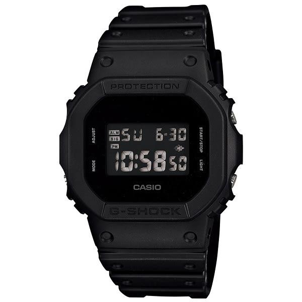 【台南 時代鐘錶 CASIO】卡西歐 G-SHOCK 宏崑公司貨 DW-5600BB-1 單色調質感消光黑 多功能運動錶