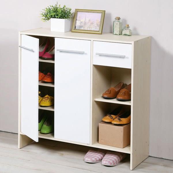 鞋櫃《YoStyle》日式二門一抽鞋櫃(楓木+白) 收納櫃 櫥櫃 有門櫃 玄關櫃 置物櫃 展示櫃