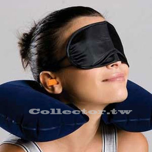 戶外旅遊三寶 充氣枕頭+眼罩+耳塞