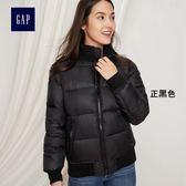 Gap女裝 活力風格純色棉服棒球長袖夾克 368334-正黑色