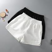 運動短褲 白色短褲女夏鬆緊腰秋棕色外穿寬鬆顯瘦運動休閒黑色短褲-Ballet朵朵