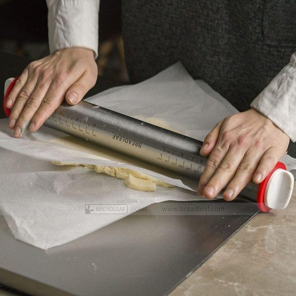 BreadLeaf 不鏽鋼可調節厚度桿麵棍(四個調節圈) 擀麵棍 排氣棍 揉麵棍 披薩餃子皮擀麵棒