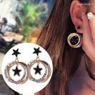 耳環《可改耳夾式》復古幸運草星星黑色耳針耳墬 (SRA0148) AngelNaNa