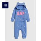Gap女嬰兒 logo長袖連帽一件式包屁衣 497696-摩爾藍色