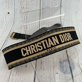 BRAND楓月 Christian Dior 迪奧 深藍 LOGO腰帶 #85 復古金色 長方形扣環 繡花 帆布 皮帶