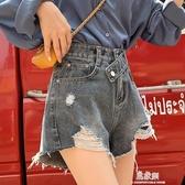 牛仔短褲女夏新款韓版chic寬鬆顯瘦闊腿高腰a字熱褲 易家樂