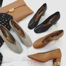 單鞋女款夏季新款百搭鞋子粗跟中跟奶奶鞋夏...