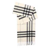 【BURBERRY】基本款經典格紋喀什米爾圍巾(白)3994123 NATURAL WHIT