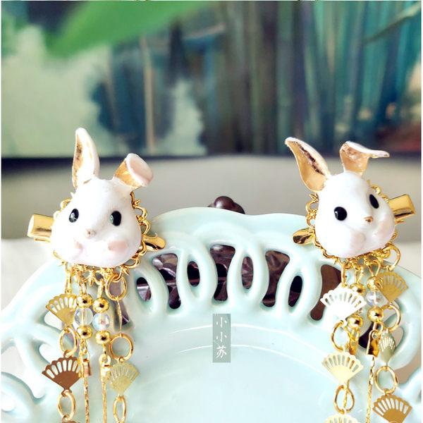 女孩頭飾漢服古風發飾兒童可愛狐貍兔子動物流蘇古裝發夾對夾