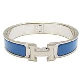 HERMES 愛馬仕 藍色琺瑯白色H字手環 Clic H Narrow Enamel Bracelet 【BRAND OFF】