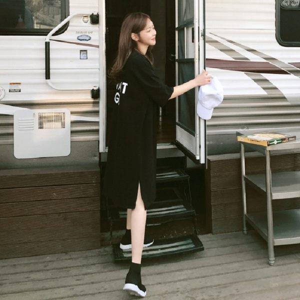 梨卡★現貨 - 氣質優雅純色短袖字母中長版棉質上衣連身裙連身短裙B862