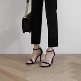 顯瘦細跟涼鞋女新款夏季百搭33碼時尚性感一字帶扣高跟鞋女41 檸檬衣舍