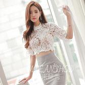 韓版蕾絲上衣優雅立領性感鏤空顯瘦百搭蕾絲衫 米蘭shoe