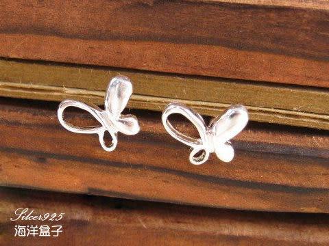 ☆§海洋盒子§☆ 甜美優雅。亮面簍空蝴蝶造型純銀耳環《925純銀》