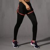 [超豐國際]夏季健身跑步運動休閑黑色長褲顯瘦壓縮褲內襯褲假兩