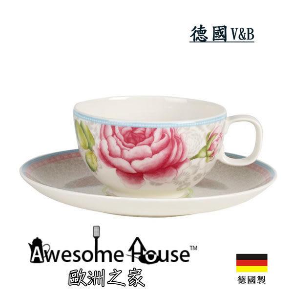 德國V&B 玫瑰小屋系列 花茶杯 + 碟盤 灰色#1041418502