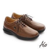 A.S.O 奈米健康氣墊 油感牛皮綁帶紳士休閒皮鞋 茶