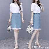 很仙的兩件套洋氣網紅套裝裙夏季女裝2020新款小清新顯瘦俏皮套裙