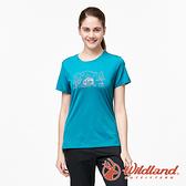 【wildland 荒野】女 彈性輕量印花排汗短袖圓領衫『孔雀藍』0A91633 運動 露營 登山 吸濕 排汗 快乾