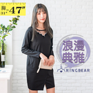 氣質洋裝--專業性感蕾絲金屬環反摺扣口袋...